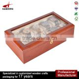 CHERRY WOOD ACRYLIC TOP DISPLAY 10 SLOT PILLOW FELT WATCH BOX STORAGE/COLLECTOR