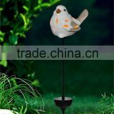 hotsale mini ceramic bird led solar powered light garden lawn ornaments