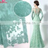 2016 high quality fabric embroidered tulle lace/mint green tulle fabric for dress/ french tulle for wedding dress bridal
