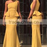 (MY2947) MARRY YOU Sexy One Shoulder Yellow Mermaid Prom Dress 2016 Ruffles Sweep Train