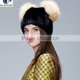TD1014 2016 Korean New Style Natural Real Pelt Real Knitted Animal Mink Fur with Silver Fox Pom Pom
