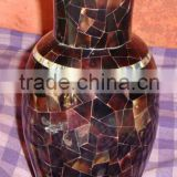 Black Sea Shell Mother Of Pearl Decorative Flower Vase