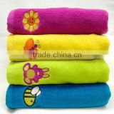 100% bamboo fiber solid color embroidered velour hand towel