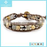 Fashion Labradorite and Gold Mix Single Leather Wrap Charming Bangle Bracelet Summer 2015