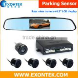 Factory Wholesale rear view reverse parking sensor, rearview mirror reverse parking system with 4.3 inch display and camera