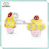 High Quality Sterling Silver Stud Earring for Girls Pink Yellow Enamel Cupcake