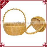 S&D pe rattan 100 % handmade Wicker Round wedding water proof round decoration storage gift basket with handle