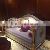Luxury solid wood frame exquisite golden hand carving special light purple genuine leather living room sofa set