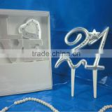 2014 hot selling decoration wedding anniversary 21 birthday cake toppers