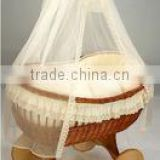 handmade wicker doll pram baby sleeping with handles