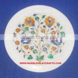 Marble Plate, Stone Inlay Plaque, Inlaid Marble Plate