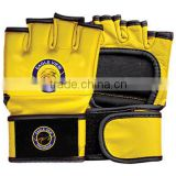Yellow and Black Dual Colour Grappling Gloves Made of Cowhide Leather