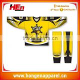 Hongen apparel full sublimation colleague ice hockey shirts goalie jersey with custom hockey socks