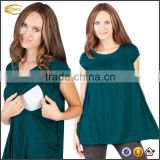Ecoach Wholesale OEM Hot Sale Women Short Cap Sleeve Round Neck Maternity Clothes Nursing T-Shirt with Side Pockets
