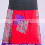 Bohemian Granite Floral Prints With Red Hue Cotton Patchwork Mini Skirt HHCS 109 I
