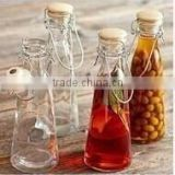 Juice bottle glass milk bottle ice drink bottle glasswares handle glass sealing glass is transparent