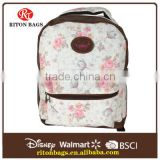 Clearance Goods Top Quality Canvas Bag Fashionable Full Linings School Backpack with Beautiful Flower Printed