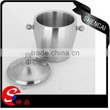 Caitang high quality stainless steel ice bucket with s/s Domed Lid- drum shape beer cooler bucket