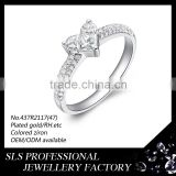 3 big CZ setting in center of rings with 925 sterling silver jewelry ,high polished rings to engrave letter you wanna
