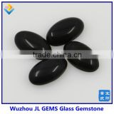 Loose black glass cabochons with flat round glass cabochon