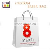 Luxury recycled white kraft paper shopping coffee gift bag