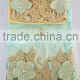 yellow african george fabric with cord lace india raw silk george wrappers with flower pattern