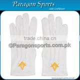 Masonic Regalia Gloves White Cotton Embroidery Logo With Square and Compass in Gold color