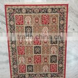 Woolen Area Rug India, Beautiful carpet multi pattern red color traditional Indian Pattern