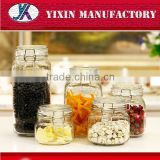 Hot sale clear 450ml,700ml,950ml,1500ml square glass clip top jar
