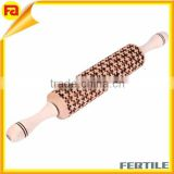 Wooden Rolling pin laser engraved Puzzles pattern embossing cake wood rolling pin                                                                         Quality Choice