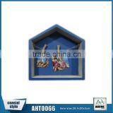 French Style House Shape Decorative Wall Picture Frame,Antique Beach Blue Wooden Wall Shelf