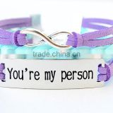 You are my person logo leather cord braided infinity charm bracelet                                                                                                         Supplier's Choice
