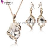 Wedding Bridal Dress Accessories Jewelry Sets For Women Water Drop Crystal gold plated jewelry