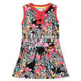 (H6239)2015 NEW fashion Children's clothes grils dress printed beautiful flower dress for girls summer sleeveless dress