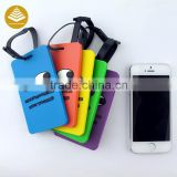 Custom Logo and name bulk leather / waterproof silicone luggage tags with Belt Type and Plastic Material luggage loop