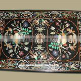 Black Marble Stone Inlay Rectangular Shape Table Top, Tabletop Exporter Marble Inlay Dining Table