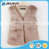 v- neck rabbit knit fur vest