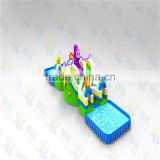 Guangzhou inflatable floating water park with big slide and pool for sale