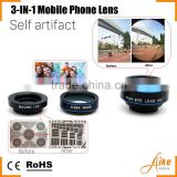 3 in 1 Lens with Clip, Fisheye Lens for Projector, Fish eye+ Wide angle+ Macro 3 in 1 kit camera lens for iphone
