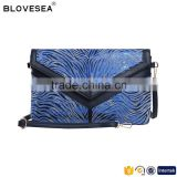 Blue zebra print lady clutch handbag flap with snap button women evening clutch bags