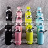 Custom logo glass water bottle with protect cover