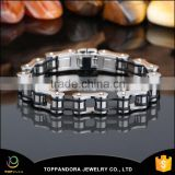 Fashion new design men's bracelet stainless steel top quality silver bike chain style finger chain ring bracelet