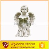 Wholesale little girl garden statue, little angel garden sculpture