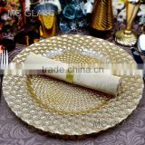 Wholesale Tableware Elegant Events and Party Decorative Gold Glass Wedding Charger Plate