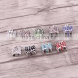 Bag Shape Crystal Rhinestone Metal Beads Dark Silver Plated Jewelry Big Hole European Bead Fit For Charms Bracelets