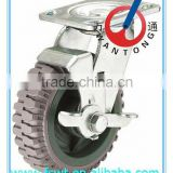 heavy duty shock absorbing wearingproof PU hardware rotating caster wheelswith side brake
