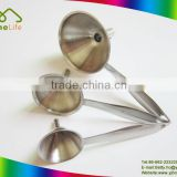 Latest popular high quality small stainless steel funnel set