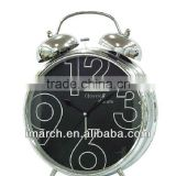 silvery-3 bell clock,table clock