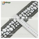 embroidered beaded whosale 2015 new products crystal metal mesh stretch bead trim for garment