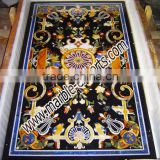 Rectangle Table Top Stone Marble Inlaid Pietre Dure Dining Table Top, Center Table top Black k